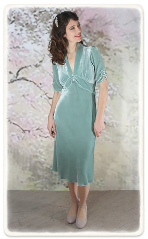 Nancy Mac Sable dress in seafoam silk velvet - model shot