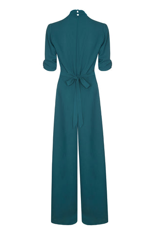 Nancy Mac Sable jumpsuit in emerald moss crepe - back mannequin shot