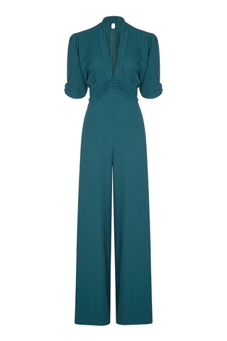Sable jumpsuit in emerald crepe - front mannequin shot