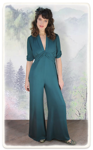 Nancy Mac Sable jumpsuit in emerald moss crepe - model shot
