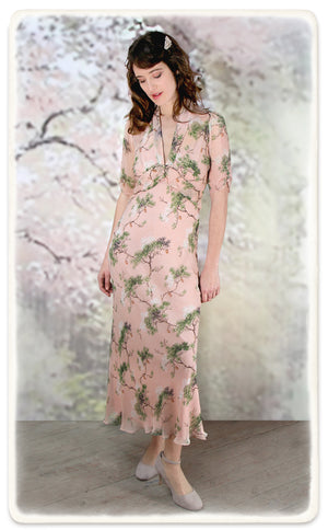 Sable longline dress in Cloudpine print silk georgette - model shot