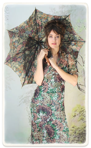 Nancy Mac Sable longline dress in Fioretta print silk georgette - model shot with parasol