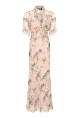 Sable longline dress in Cloudpine print silk georgette - front mannequin shot