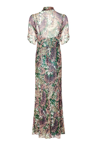 Nancy Mac Sable longline dress in Fioretta print silk georgette - back mannequin shot
