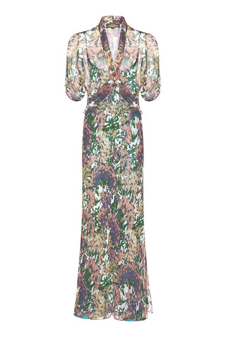 Nancy Mac Sable longline dress in Fioretta print silk georgette - front mannequin shot
