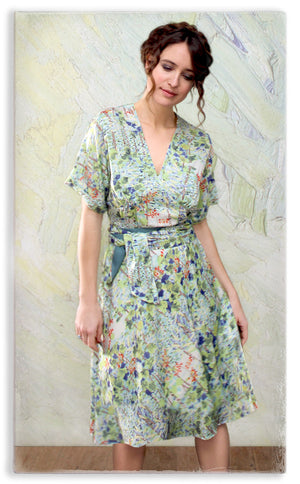 Nancy Mac Sophia dress in floral Painter's Garden print crepe