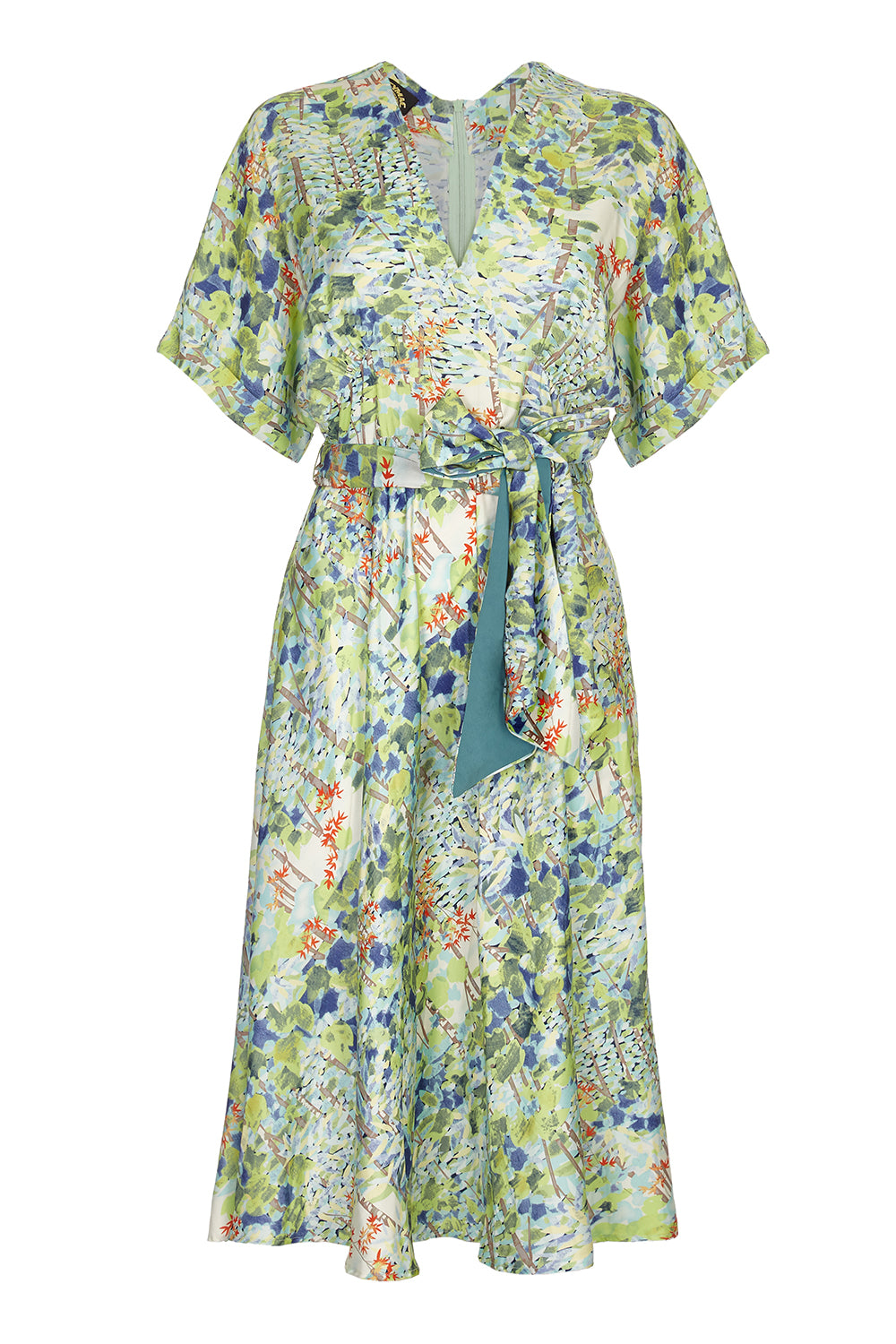 Nancy Mac Sophia dress in floral Painter's Garden print crepe - mannequin front