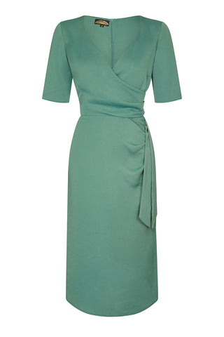 Nancy Mac Suzanna sash dress in lagoon crepe - front mannequin shot