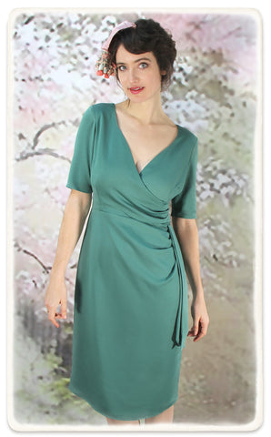 Nancy Mac Suzanna dress in lagoon crepe - model shot