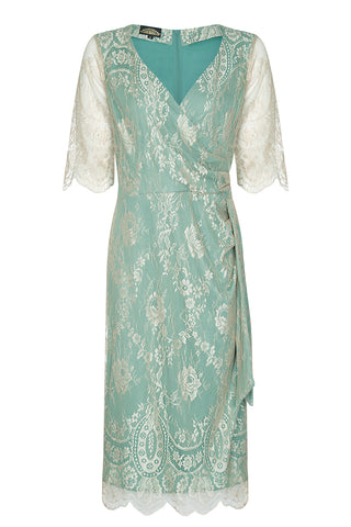 Nancy Mac Suzanna sash dress in platinum lace - front mannequin shot