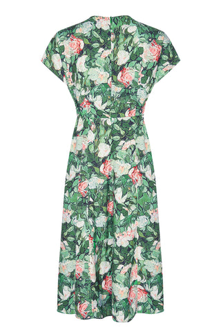 Valeria dress in Celadon rose print crepe - mannequin back