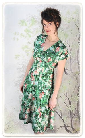 Valeria dress in Celadon rose print crepe - model shot