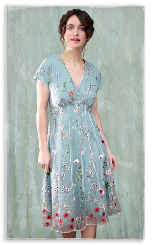 Nancy Mac Valeria dress in meadow-flower embroidered lace