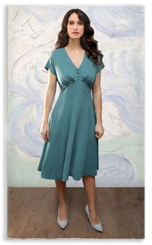 Nancy Mac Valeria dress in Tiffany blue crepe