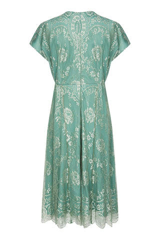 Nancy Mac Valeria dress in aqua shimmer lace - back mannequin shot