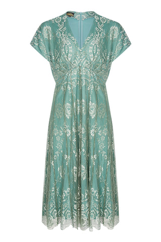 Nancy Mac Valeria dress in aqua shimmer lace - front mannequin shot