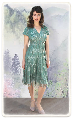 Nancy Mac Valeria dress in aqua shimmer lace - model shot