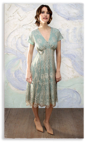 Nancy Mac Valeria dress in platinum and reef lace