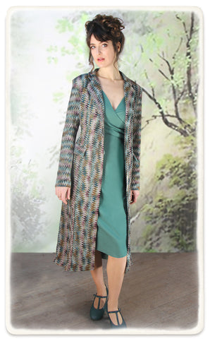 Vivienne coat in Sorrento knit - model shot with Suzanna dress in lagoon crepe