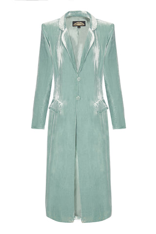 Nancy Mac Vivienne coat in seafoam silk velvet - front mannequin shot
