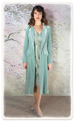 Nancy Mac Vivienne coat in seafoam silk velvet - model shot