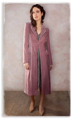 Nancy Mac Vivienne coat in sweet pea silk velvet
