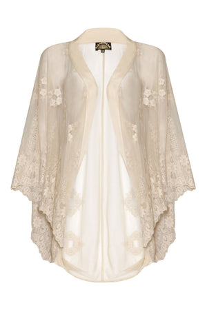 Nancy Mac shrug in ivory embroidered lace