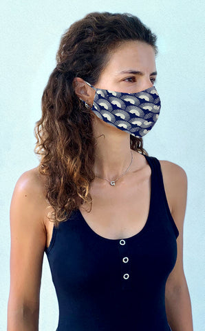 Navy fan print crepe mask
