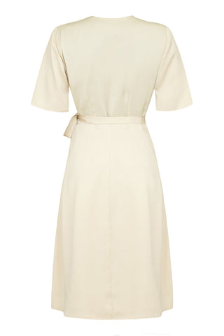 Embroidered Suki dress in ivory crepe - mannequin back