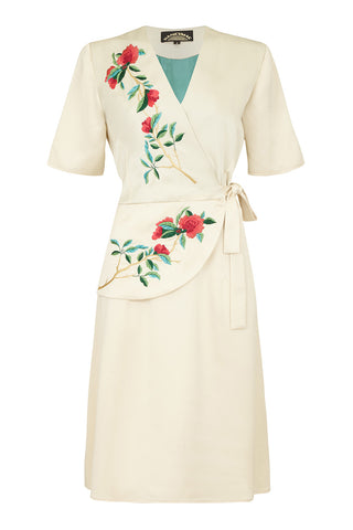 Embroidered Suki dress in ivory crepe - mannequin front