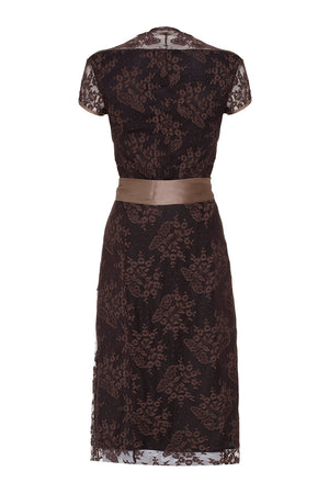 Olivia dress in mocha lace