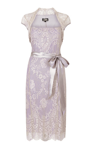 Olivia dress in platinum and tea rose lace