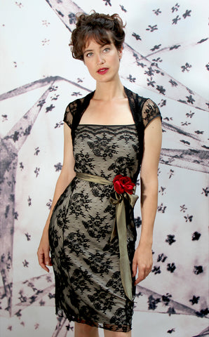 Olivia corsage dress in black lace - model shot