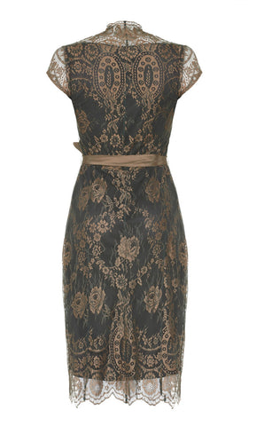 Olivia dress in green and gold lace - back cutout