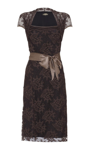 Olivia dress in mocha lace - front cutout