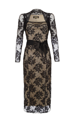 Olivia long-sleeve dress in black lace - front cutout