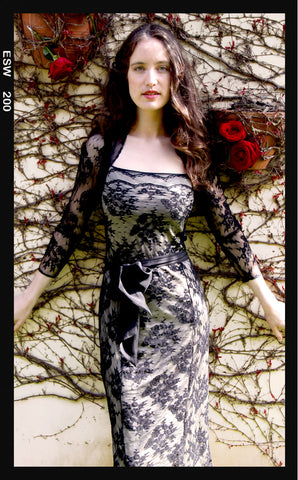 Olivia long-sleeve dress in black lace - location shot
