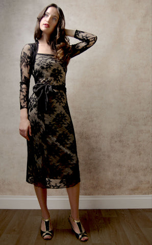 Olivia long-sleeve dress in black lace - studio shot