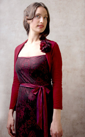 Olivia long-sleeve dress in garnet lace - with belle shrug