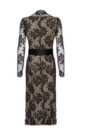 Olivia long-sleeve dress in black lace