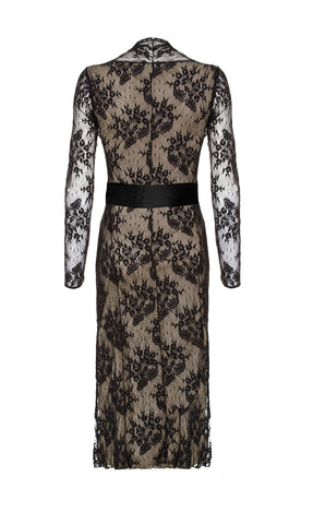 Olivia long-sleeve dress in black lace - back cutout