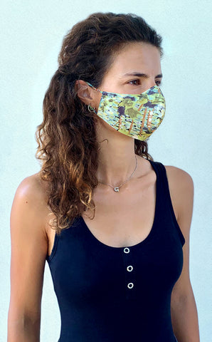 Painter's garden print crepe mask