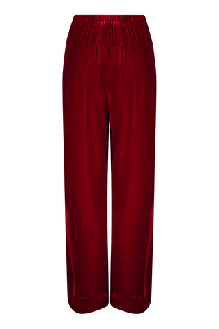 Palazzo trousers in deep red silk velvet - front mannequin