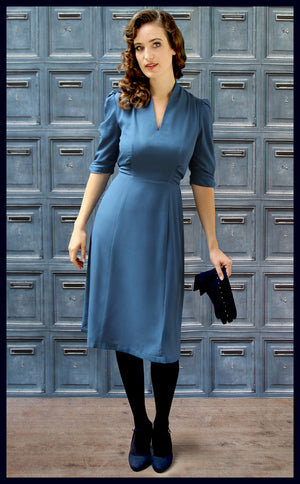 Nancy Mac's Peggy vintage style day dress in petrol blue moss crepe