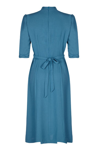 Nancy Mac's Peggy vintage style day dress in petrol blue moss crepe - mannequin back