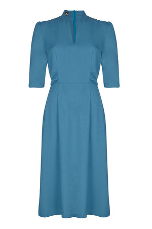 Nancy Mac's Peggy vintage style day dress in petrol blue moss crepe - mannequin