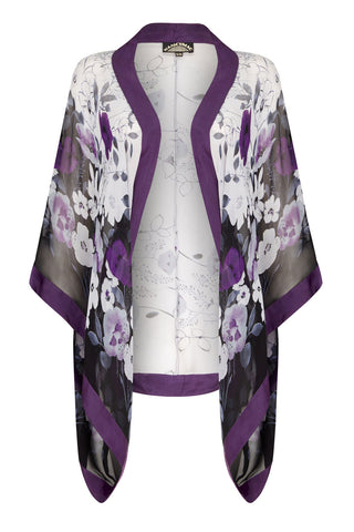 Shrug in amethyst Fleur print silk georgette