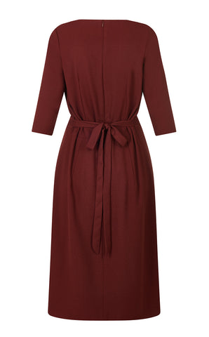 Queenie dress in russet moss crepe
