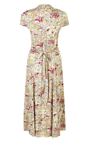 Rita dress in blush floral silk cotton