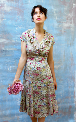 Tea-length Summer dress in warm pink, blue, taupe, cream floral print